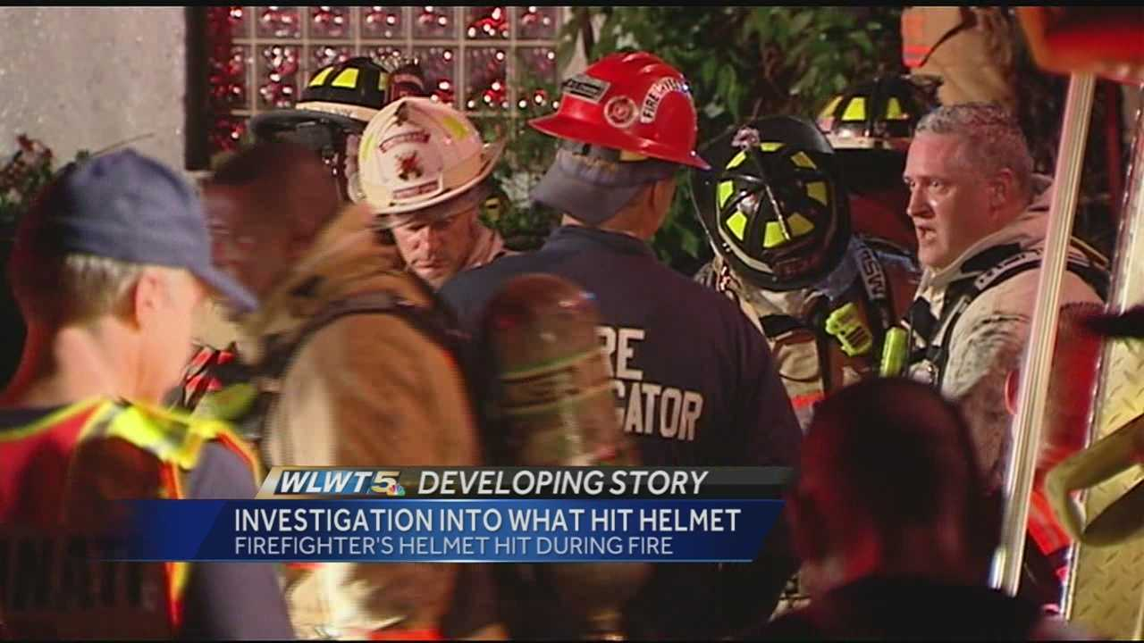 Fire union president Matt Alter told WLWT on Monday afternoon that the bullet hit a firefighter's helmet but didn't penetrate it. If it were just a half-inch lower, it would have been a direct shot to the head, Alter said.