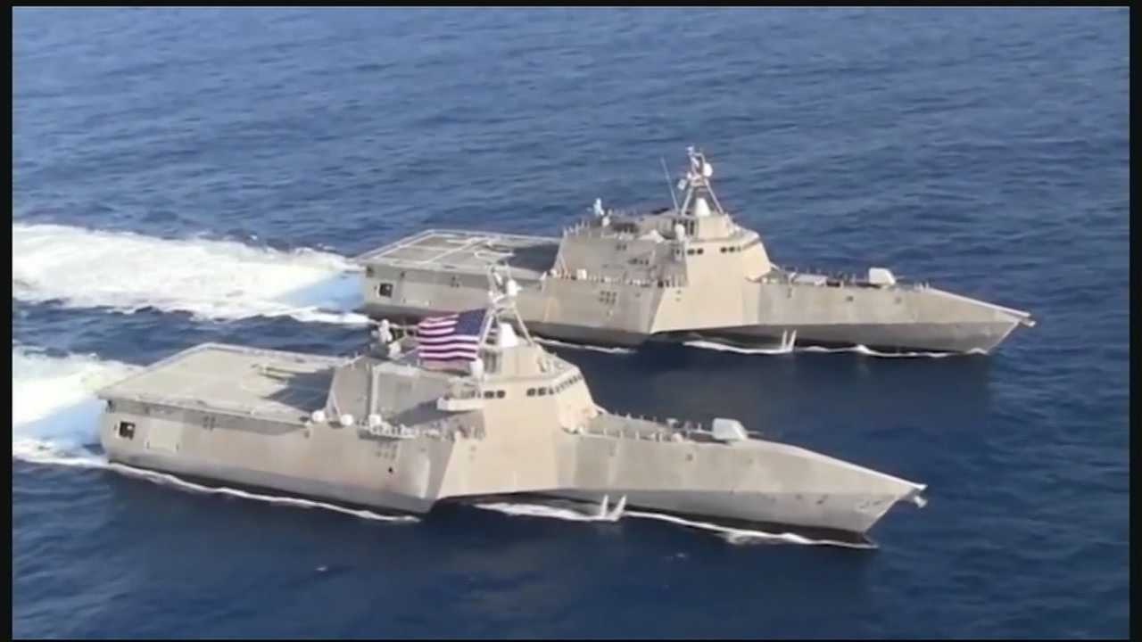 At the Reds game on Sunday, Secretary of the Navy Ray Mabus said that Austal USA in Mobile, Alabama, will build the Independence-class ship.
