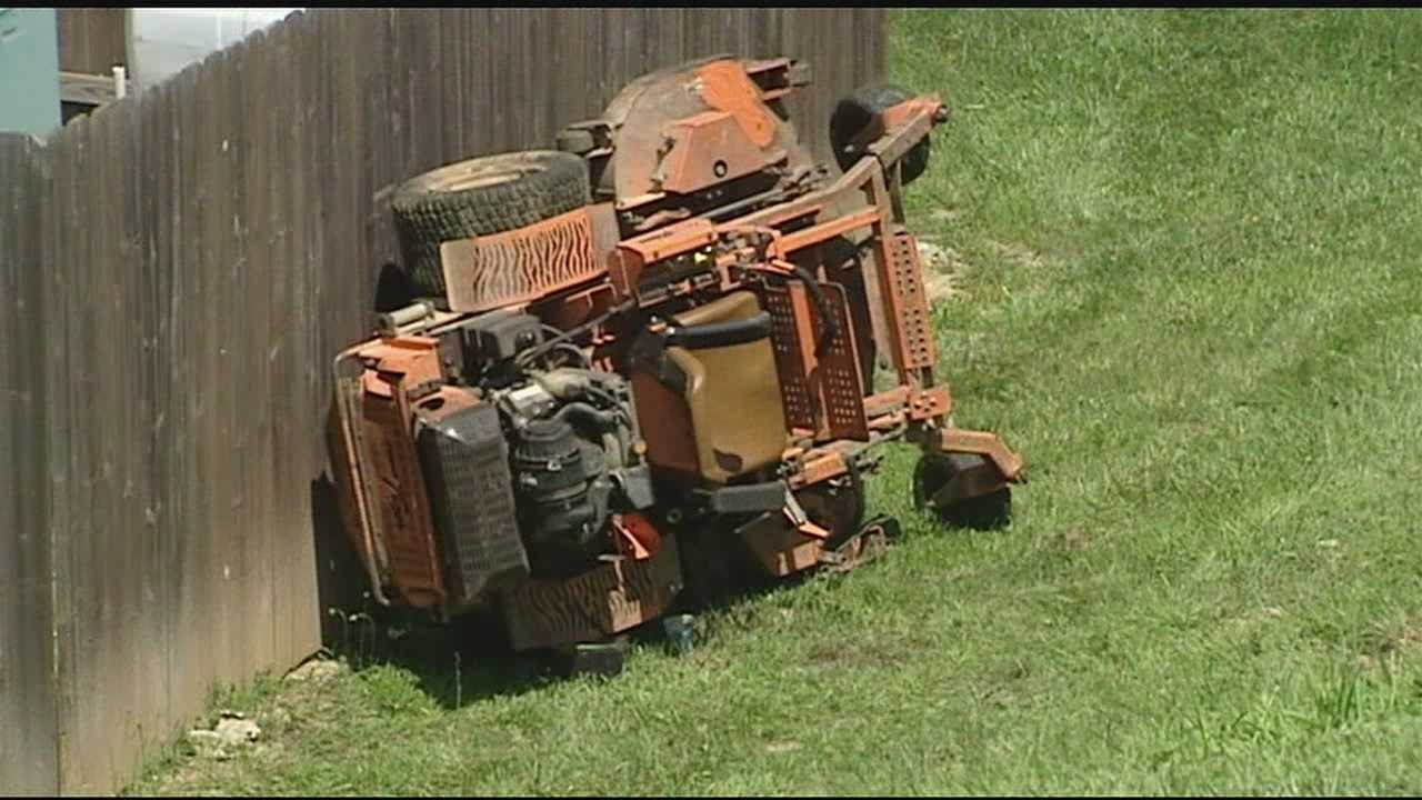 Deputies said the worker was on a hill on Bloomin Spring Court when the mower he was riding rolled over on him.