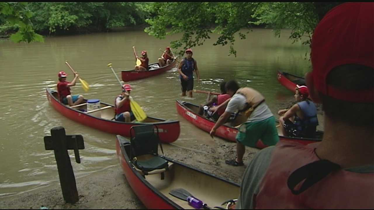 After 5 days on the river and camping out at night, teens dock at Public Landing Friday.