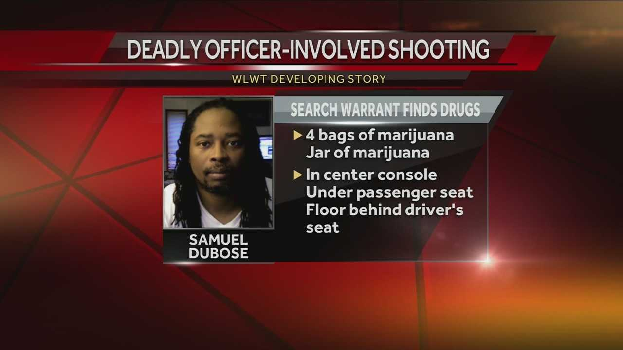 Some of the contents of Sam DuBose's car at the time of his death have been identified. WLWT has confirmed through the CPD's search warrant inventory document that four bags and a jar of marijuana were in Dubose's car at the time of the July 19 traffic stop that ended in former UC Officer Ray Tensing fatally shooting DuBose.
