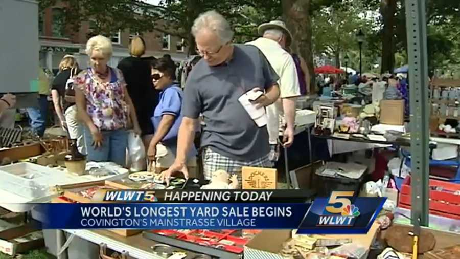 World's Longest Yard SaleMainStrasse Village in Covington, Ky.Aug. 6-9One person's trash...Covington will be flooded with new treasures to discover with nearly 100 vendors selling in the World's Longest Yard Sale. Hours in MainStrasse Village are 8 a.m. until 4 p.m. Admission is free!