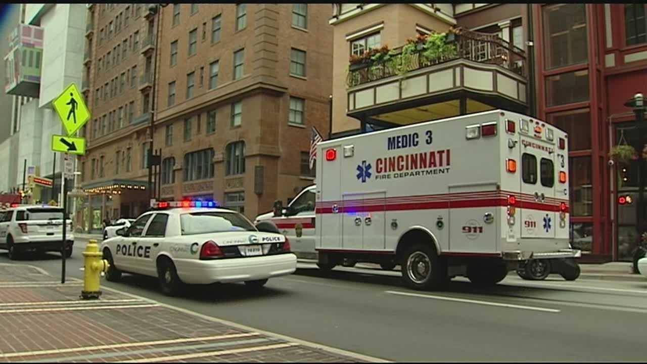 A man was shot in the leg and two other people detained, following a shooting in a downtown Cincinnati corridor in broad daylight Sunday.Cincinnati police said while responding to a report of an assault near the downtown branch library, a call came in about shots fired on Walnut and 6th streets.