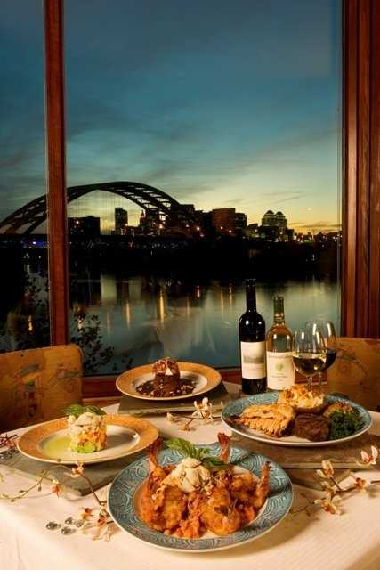 Chart House is a seafood restaurant that offers fine dining with views of the river and Cincinnati skyline.