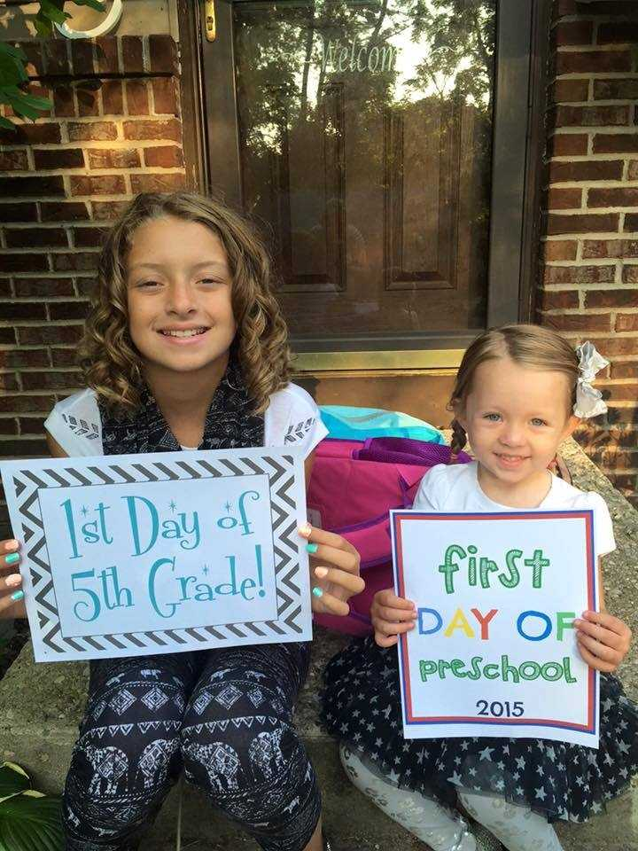 Isabella Cantrall & her niece Evelynn on their first day in the Kings Local School District.