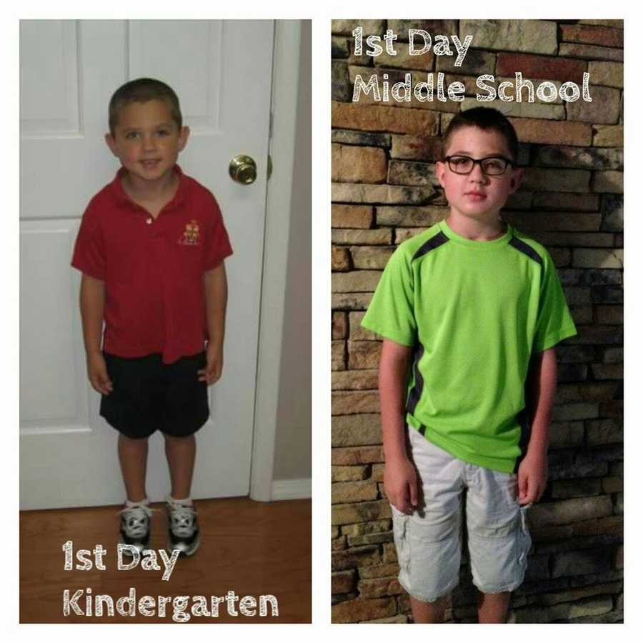 First day in Kindergarten compared to now!
