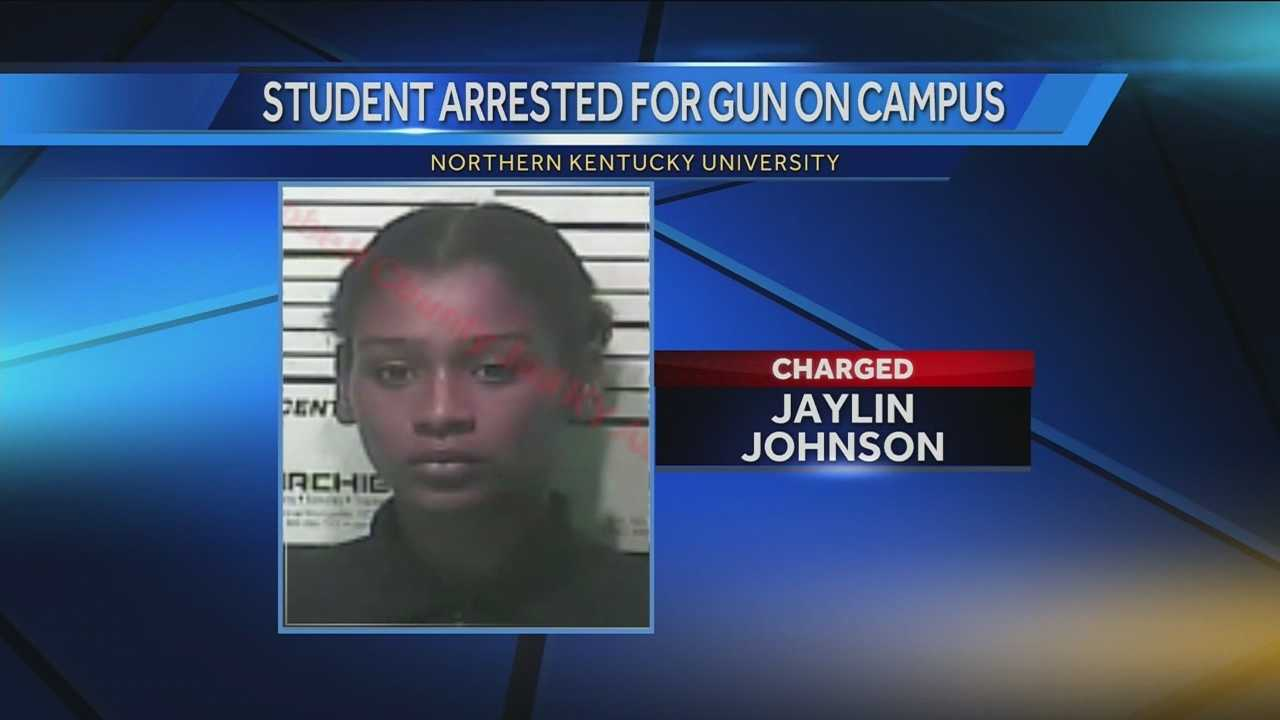 Officials said police officers questioned a female student, identified as Jaylin Johnson, 23, who admitted to having a handgun in her bag. She turned over the weapon without incident and was taken into custody.
