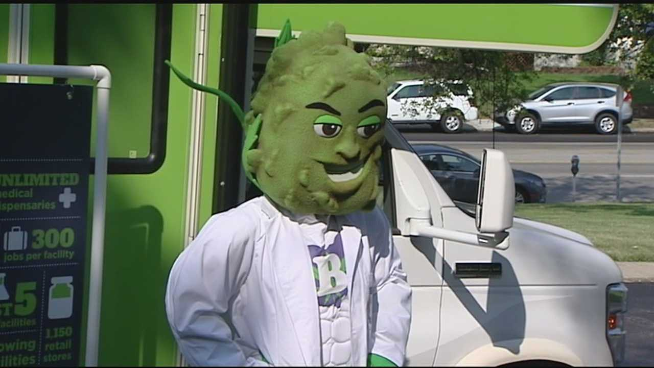 The Green Rush Tour bus showed up at UC Tuesday for a quick stop to hand out fliers.