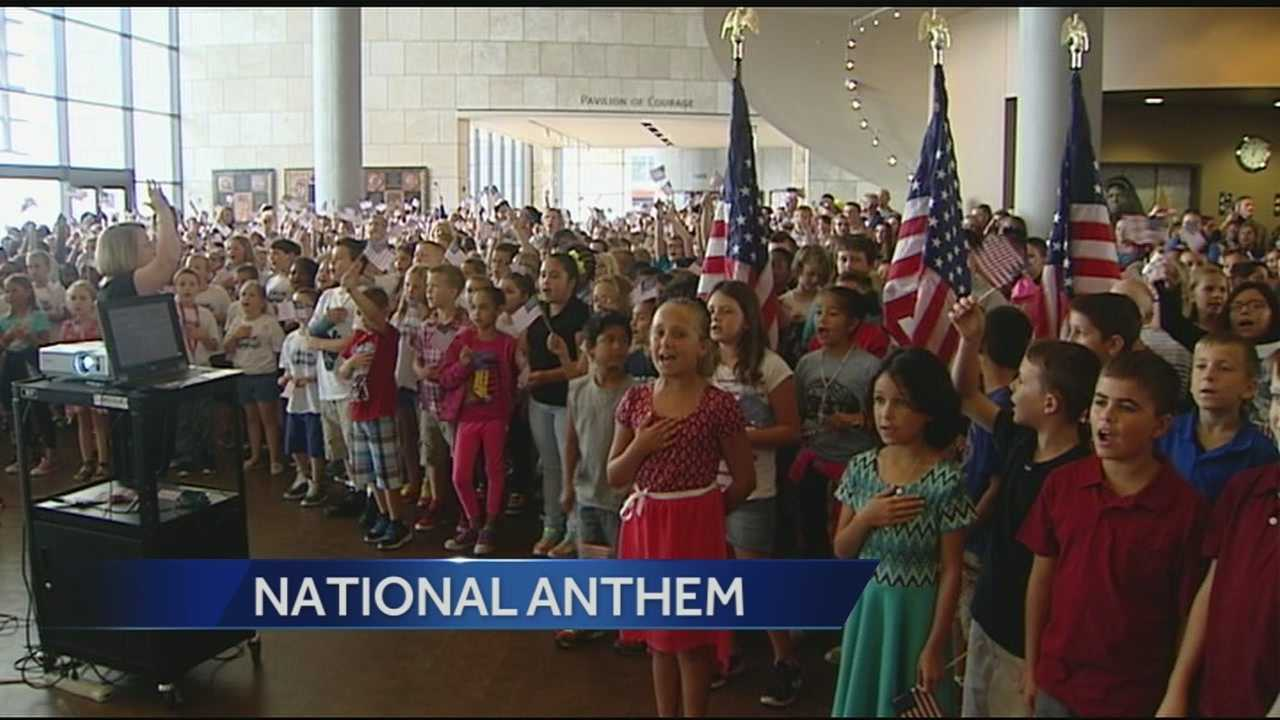 "More than 1,000 Cincinnati students took part in a special sing-a-long of ""The Star-Spangled Banner"" to commemorate 9/11."