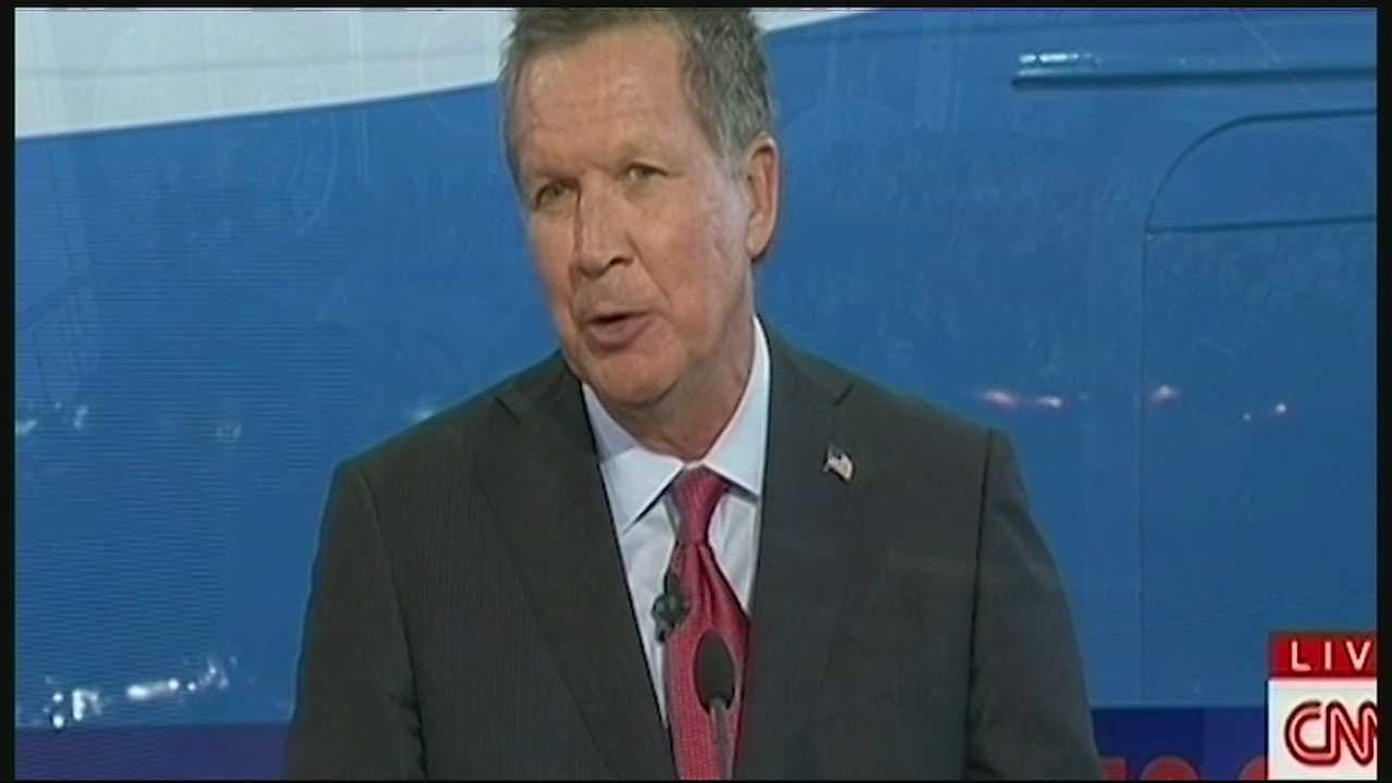 Ohio Gov. John Kasich evoked the name of Ronald Reagan at the former president's library.