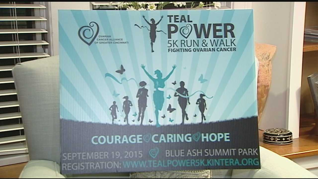 """Debbie Walter, 45, admits she is not a big fan of running but she is pushing herself to run her first 5K Saturday at the """"Teal Power"""" 5K Run & Walk in Blue Ash."""
