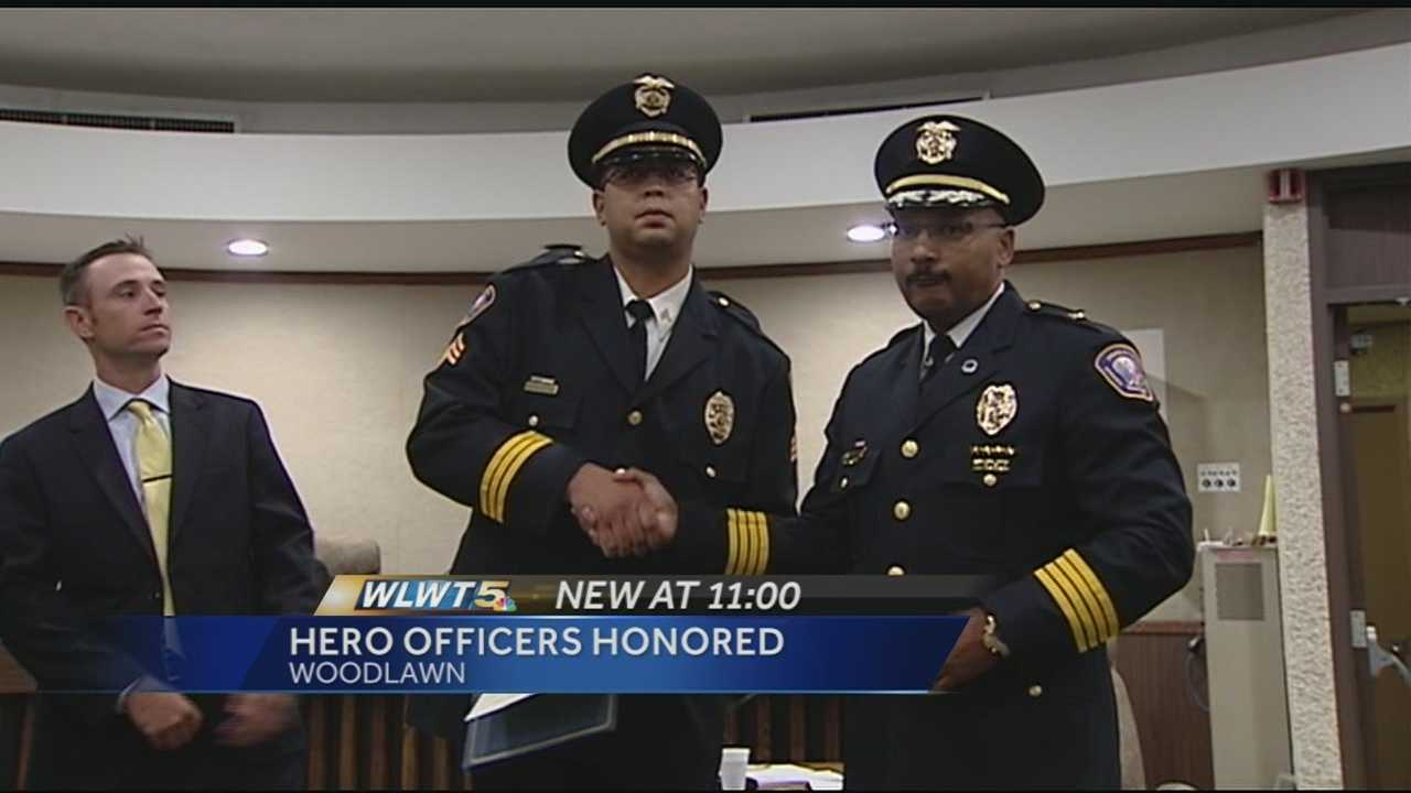 Woodlawn officer who had close call during traffic stop honored.