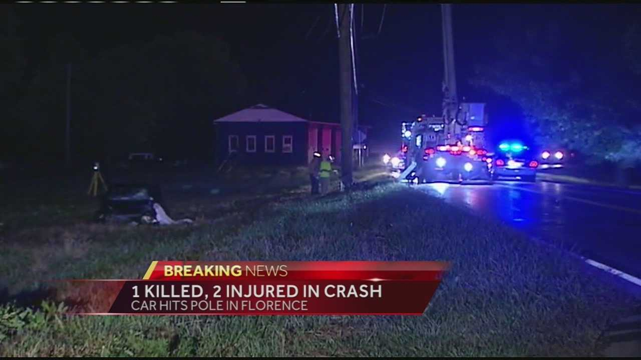 A car ran off the road and hit a utility pole in Florence early Thursday.
