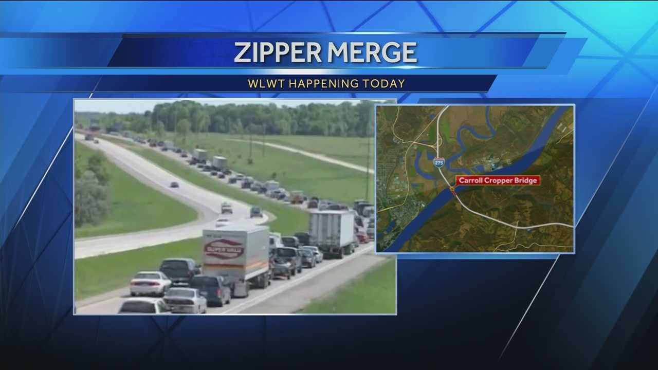A somewhat different merge is being encouraged at a major Ohio River bridge.