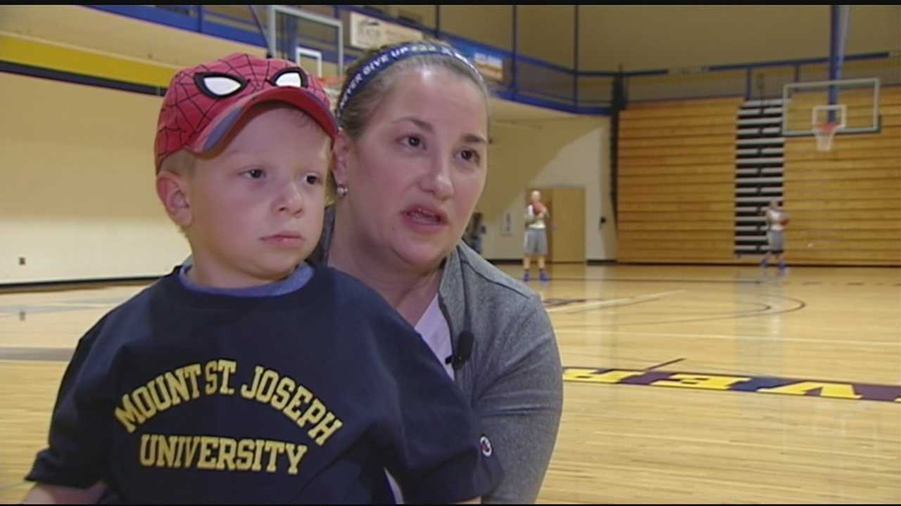 Super Luke cheers on Mount Saint Joseph women's basketball team