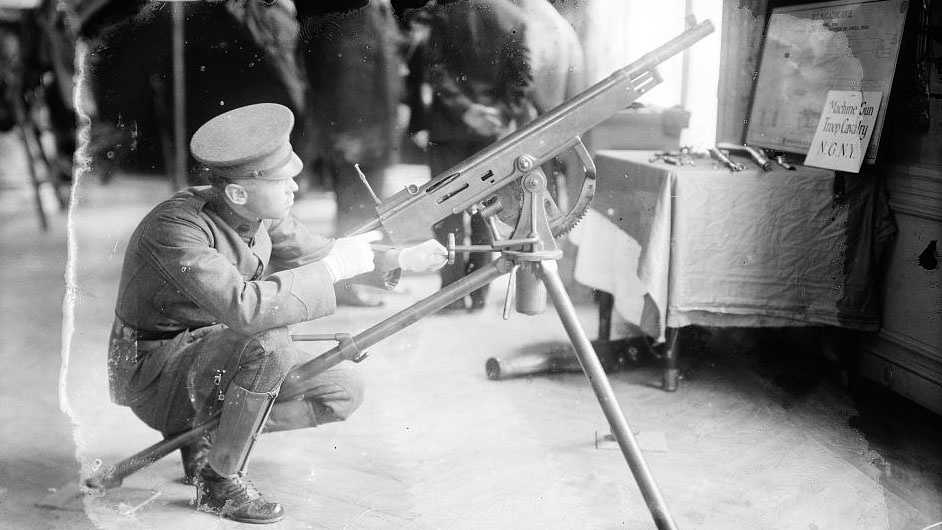 A historical photo from the Library of Congress of a M1895 Colt machine gun