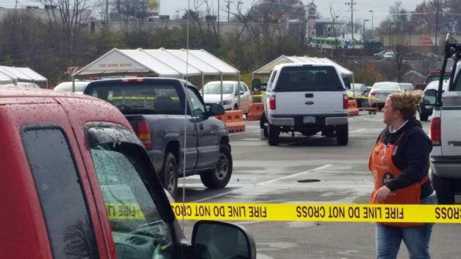 A briefcase next to a pickup (center, left side of truck) is believed to have sparked the incident