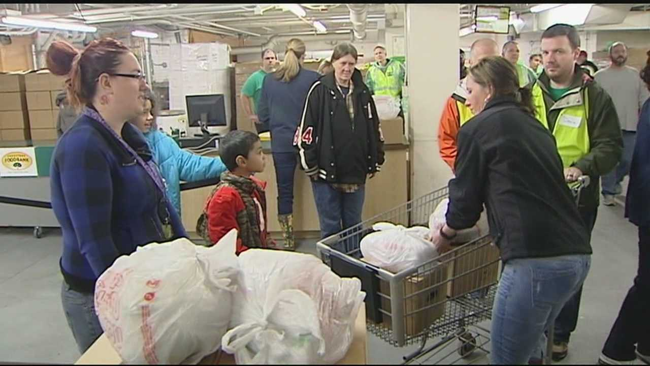 The Freestore Foodbank began Christmas meal distribution Monday morning. Organizers expect to help around 18,000 people with a holiday meal this year.