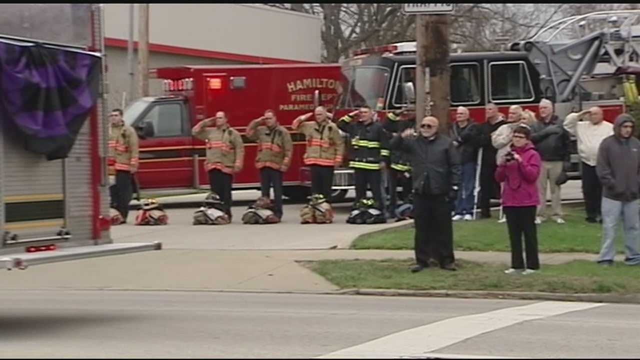 It was a 20-mile-long procession route, and firefighters were among those who honored Patrick Wolterman along the way.