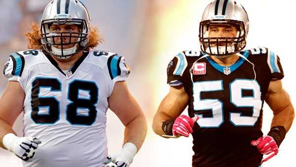 Andrew Norwell (L) and Luke Kuechly (R) -- AP photos
