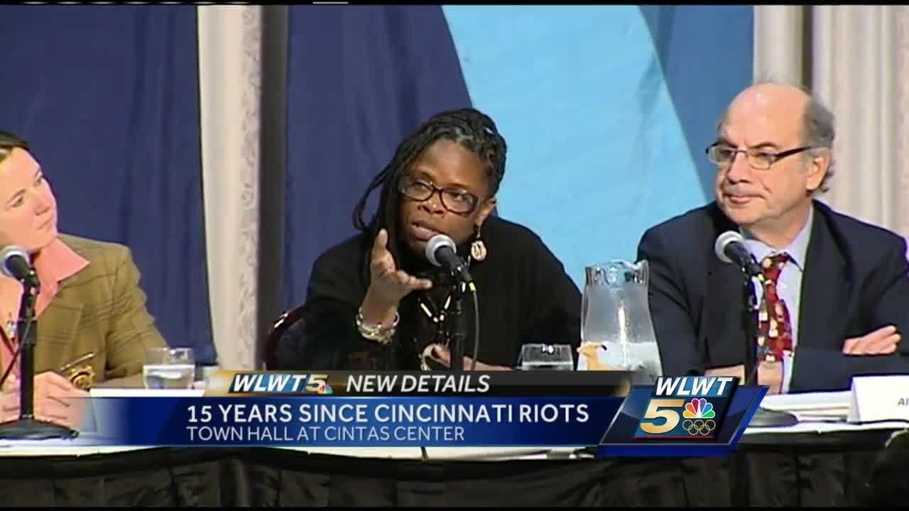 Xavier University held a town hall discussion to examine community relations in Cincinnati 15 years after the race riots.