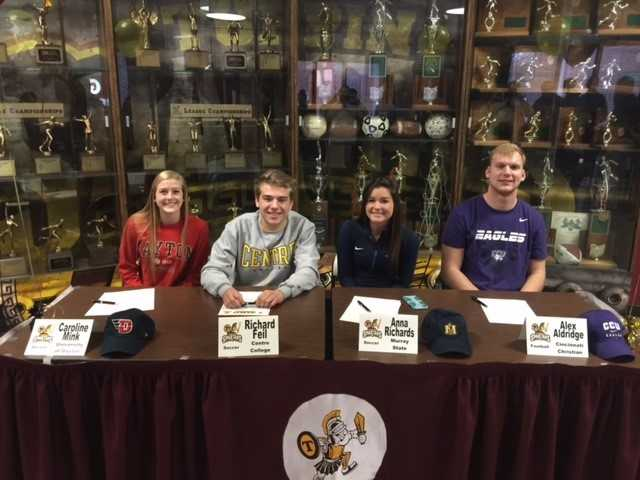 Caroline Mink- University of Dayton- Girls SoccerRichard Feil- Centre College- SoccerAnna Richards- Murray St.- SoccerAlex Aldridge- Cincinnati Christian- Football