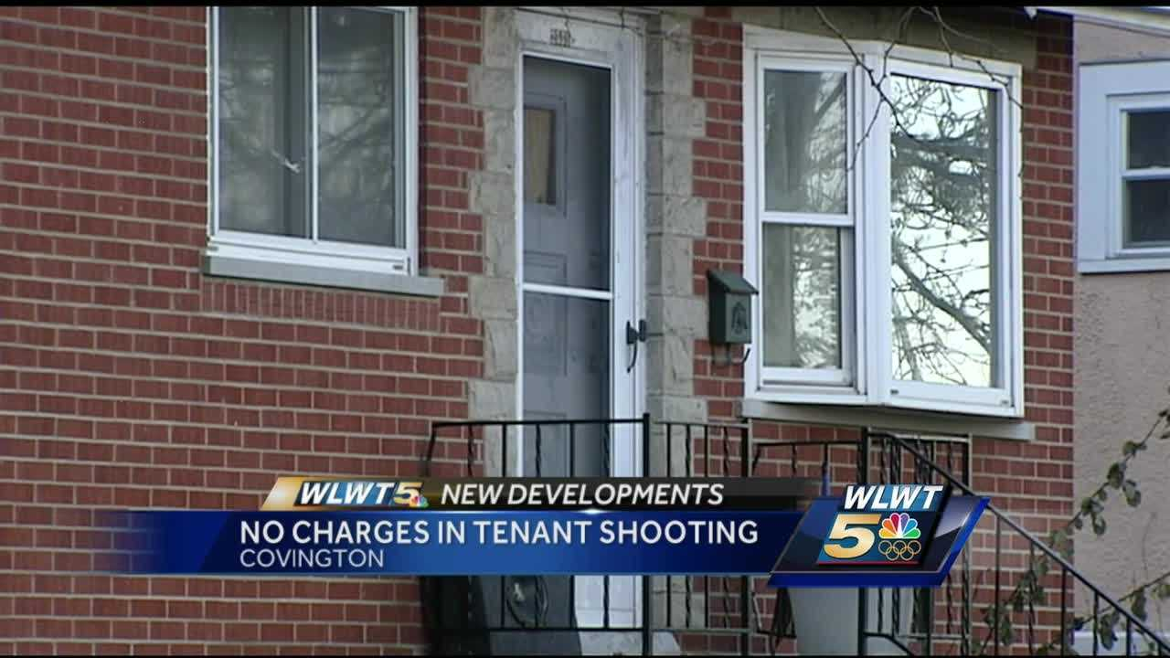 No charges will be filed after a former tenant broke into his old rental home in Covington to grab his things and the landlady shoots him and his friend.