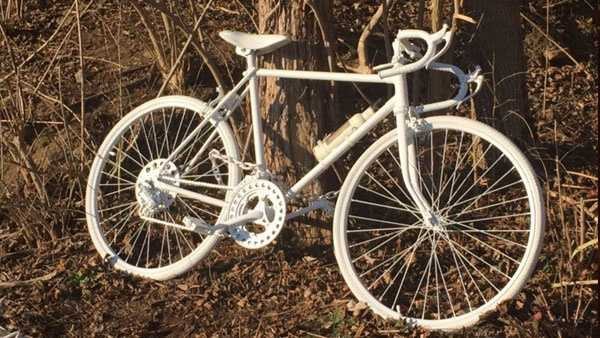 A ghost bike has been placed where cyclist Michael Prater was killed in a hit and run crash along U.S. 52.