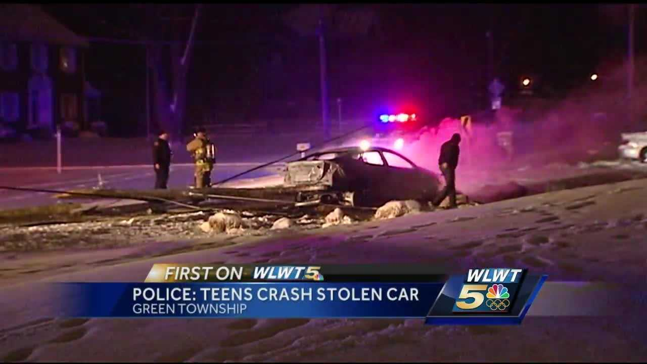 Two teens are facing charges after crashing a stolen car in Green Township. The car caught fire, and the teens were lucky they had already made it out.