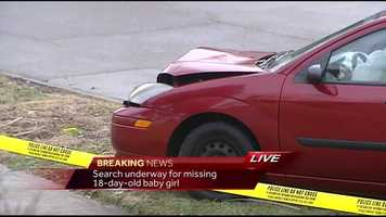 A car was stolen with a baby inside and found several miles away, crashed and empty.