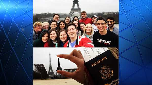 A group of 19 University of Cincinnati students traveled to Belgium March 22, the day that the airport was bombed. Student Robert Capannari posted this photo with the group while they were in Paris earlier that week.