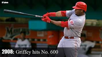 2008: On June 9, Griffey deposited a Mark Hendrickson curve ball deep over the right-field wall at Dolphin Stadium, which marked career home run No. 600. Griffey became just the sixth player in Major League history join the 600-home run club.