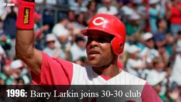 Sept. 22, 1996: Barry Larkin becomes the first shortstop in ML history to join the prestigious 30-30 club (30 homers and 30 stolen bases in the same season), when he belts his 30th homer of the season in the first game of a doubleheader against the St. Louis Cardinals.
