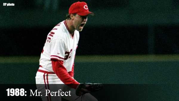 Sept. 16, 1988: Tom Browning becomes the first pitcher in Reds history to throw a perfect game when he retires all 27 Dodgers he faces for a 1-0 victory.