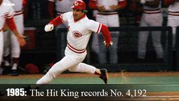 Sept. 11, 1985: Pete Rose becomes baseball's all-time hits leader with a single to leftcenter field off San Diego's Eric Show for career hit No. 4,192. Rose would finish his career with 4,256 hits.