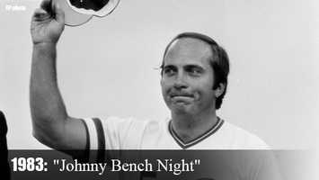 "Sept. 17, 1983: Johnny Bench homers off Houston's Mike Madden on ""Johnny Bench Night"" at Riverfront Stadium. It was the 389th and final homer of his career."