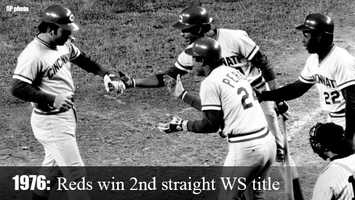 Oct. 21, 1976: Cincinnati's Big Red Machine wins its second straight World Series title. The Reds sweep both the Phillies and Yankees in postseason play.