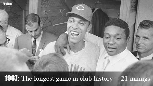 Sept. 1, 1967: The Reds partake in the longest game in club history and lose to the San Francisco Giants, 1-0, in 21 innings.