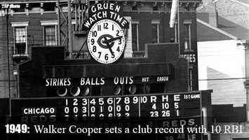 July 6, 1949: The Reds' Walker Cooper sets a club record by collecting 10 RBI in a game vs. the Chicago Cubs.