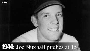 June 10, 1944: Pitcher Joe Nuxhall becomes the youngest player in the 20th century to appear in a Major League game. Nuxhall - at 15 years, 10 months and 11 days - yields five runs and retires just two batters in two-thirds of an inning. Nuxhall wouldn't pitch again in the majors until 1952.