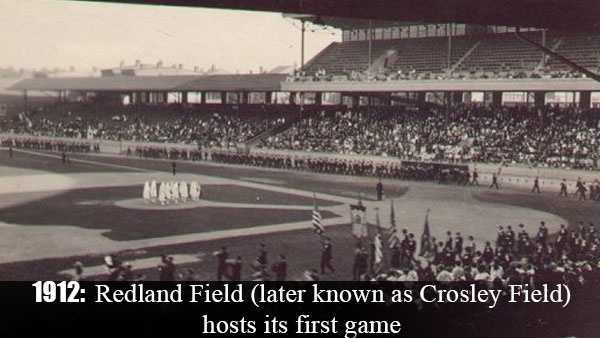 April 11, 1912: Redland Field (later known as Crosley Field) hosts its first game as the Reds beat Chicago, 10-6. The official dedication of the ballpark comes the following month on May 18.