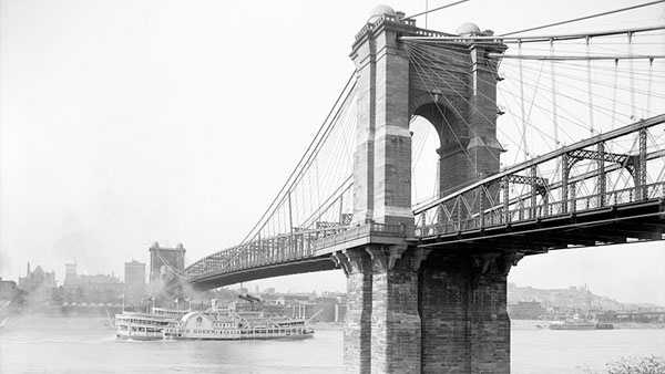 John A. Roebling Suspension Bridge in Cincinnati, Ohio. Taken c1907.Via United States Library of Congress