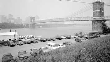 John A. Roebling Suspension Bridge, Southwest Elevation, 1968Via Historic American Buildings Survey