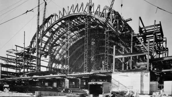 Cincinnati Union Terminal under construction, 1931Via Historic American Buildings Survey