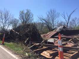 A barn in on State Line Road in Lawrence, Indiana was destroyed by winds Saturday, April 2, 2016.