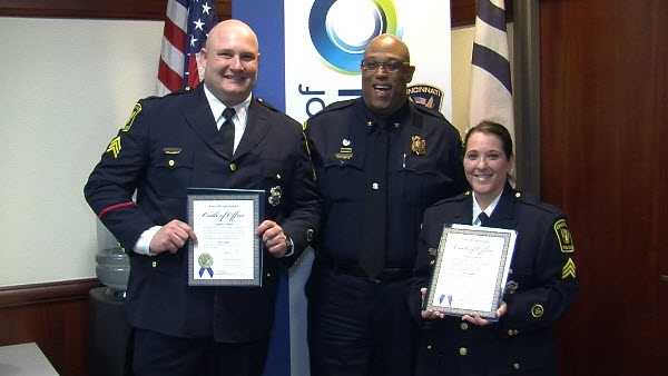 Left to right: Sgt. Stephen Bower, Col. Chief Eliot Isaac and Sgt. Jennifer Mitsch