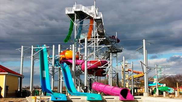 Construction on Tropical Plunge continues to progress in Soak City Waterpark at Kings Island.