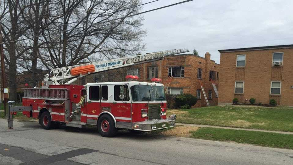 Fire crews on the scene of a fire in Golf Manor April 10, 2016.
