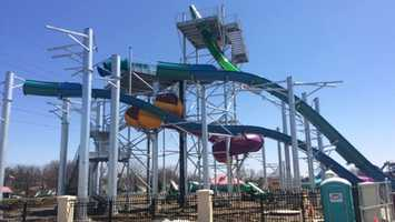 Construction continues to progress on Tropical Plunge, which is scheduled to make its debut Memorial Day weekend. It will be the first new water thrill ride in 12 years.