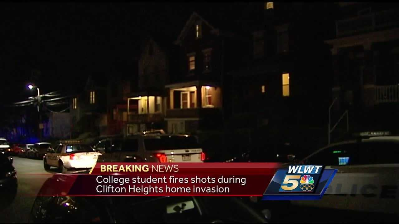 A college student opened fire on armed robbers in his home late Tuesday.